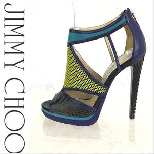 RARE Jimmy Choo Heels Lime & Turquoise Excellent!